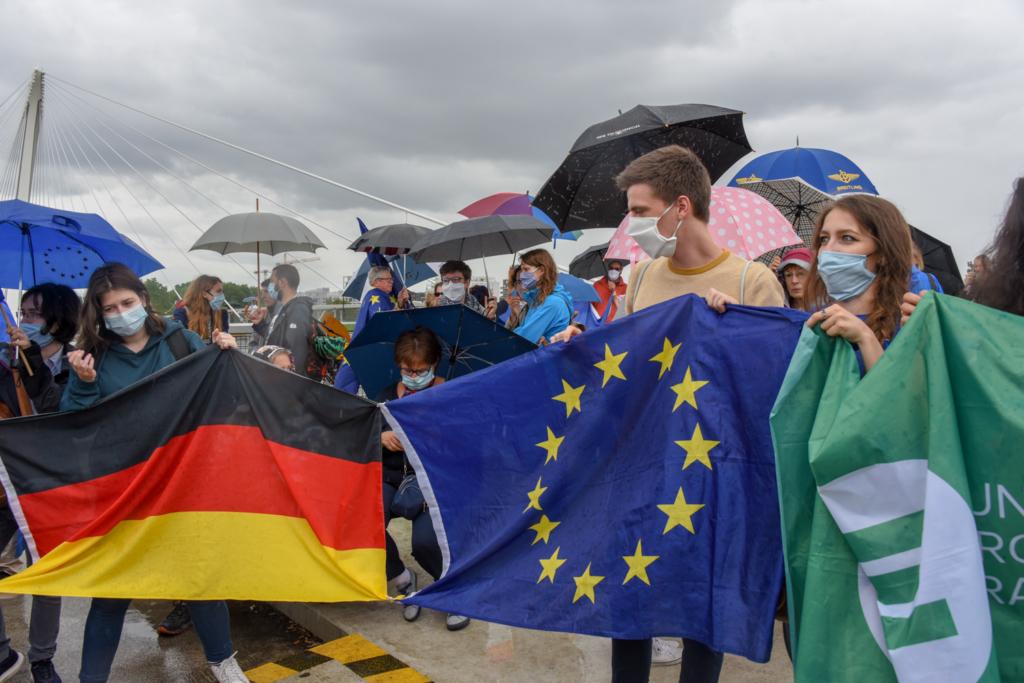 Manif pour ouverture des frontieres entre France et Allemagne